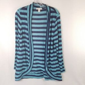 CWC Size M 10-12 Striped Open Cardigan Blue 3524